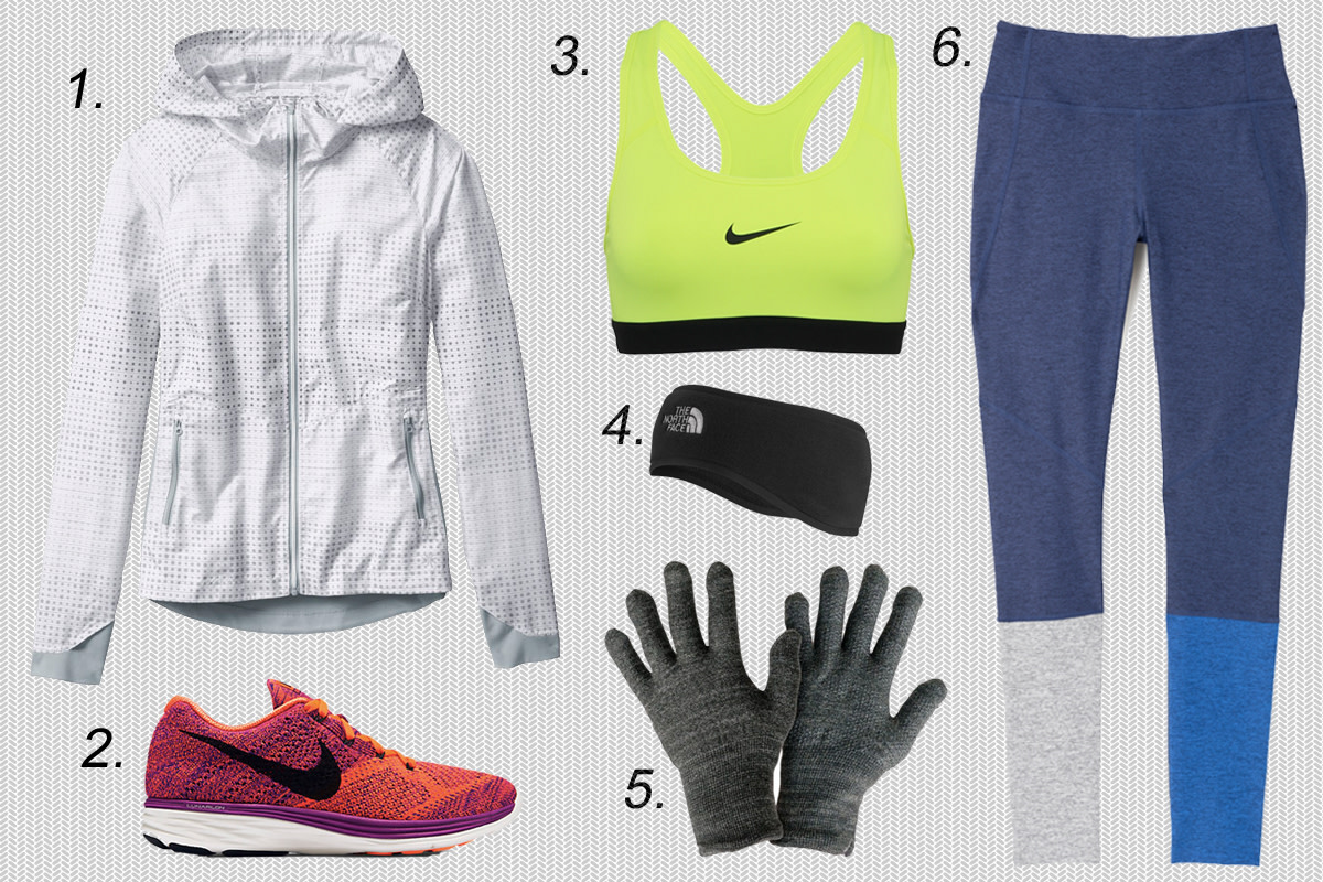1. Athleta accelerate reflective jacket, $118, available at Athleta. 2. Nike Flyknit Lunar 3, $150, available at Nike. 3. Nike pro classic sports bra, $30, available at Nike. 4. The North Face ear warmer, $30, available at Urban Outfitters. 5. GliderGloves touchscreen gloves, $26.99, available at Amazon. 6. Outdoor Voices dipped warmup legging, $95, available at Outdoor Voices.