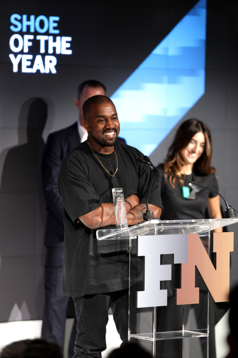 "Kanye West accepts the award for ""Shoe of the Year"" at the 2015 Footwear News Achievement Awards, sponsored by Zappos Couture. Photo:  REX/Shutterstock"
