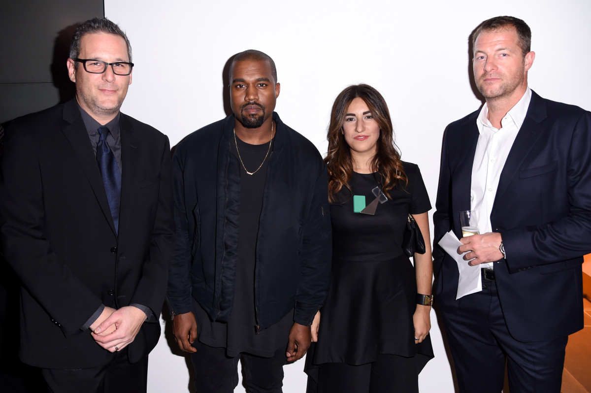 Kanye West with the Adidas Originals team — Jon Wexler, Rachel Muscat and Arthur Hoeld. Photo: REX/Shutterstock
