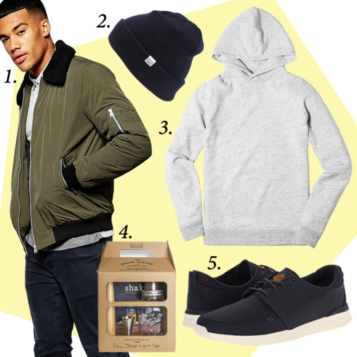 1. ASOS Harrington Jacket with Removable Faux-Shearling Collar, $89.58, available at Asos.com. 2. Norse Projects Merino Wool Beanie, $55, available at Nordstrom.com. 3. Everlane Pullover Hoodie Sweatshirt, $58, available at Everlane.com. 4. W&P Design The Barware Set with Shake Book, $69, available at Fab.com. 5. Reef Rover Low, $70, available at Zappos.com.
