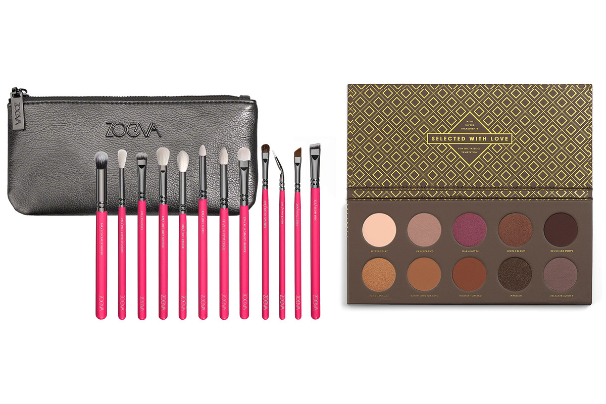 Zoeva Pink Elements Classic Brush Set, $70, available at Zoeva; Zoeva Cocoa Blend Eye Shadow Palette, $32, available at Space NK