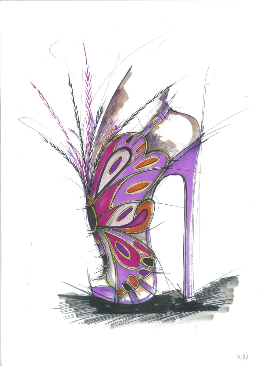 Brian Atwood sketch of a purple feather sandal for the 2015 Victoria's Secret Fashion Show. Photo: Brian Atwood