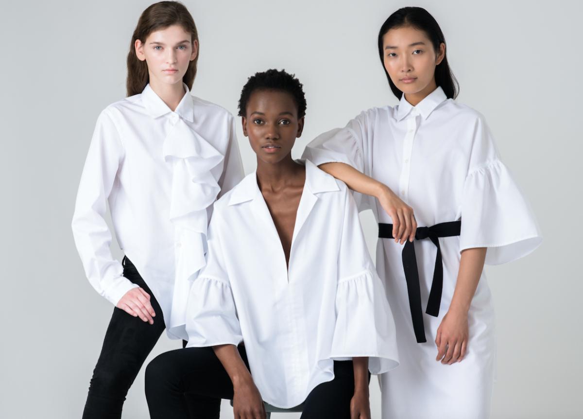 Anka Kuryndina, Herieth Paul and Jisu Hong wear The White Shirt Project 3.0 shirts designed by Tome. Photo: Tome