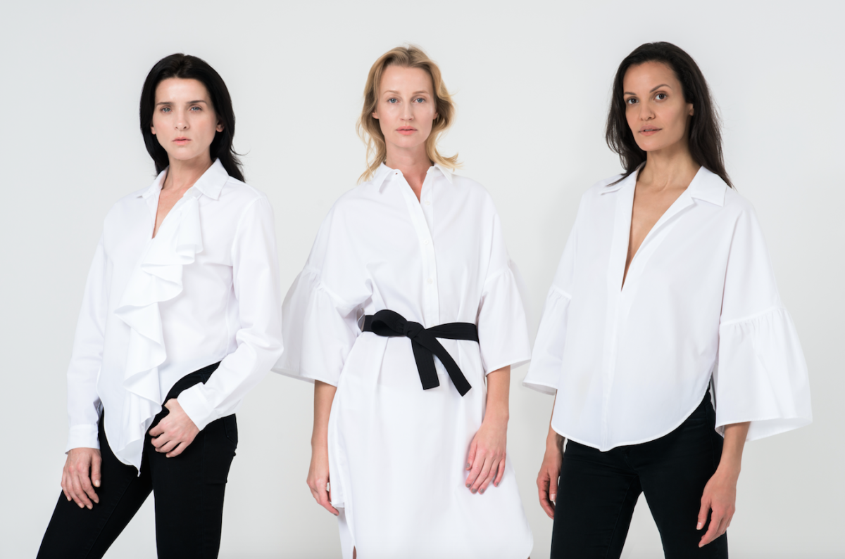 Michele Hicks, Esther de Jong and Claudia Mason wear The White Shirt Project 3.0 shirts designed by Tome. Photo: Tome