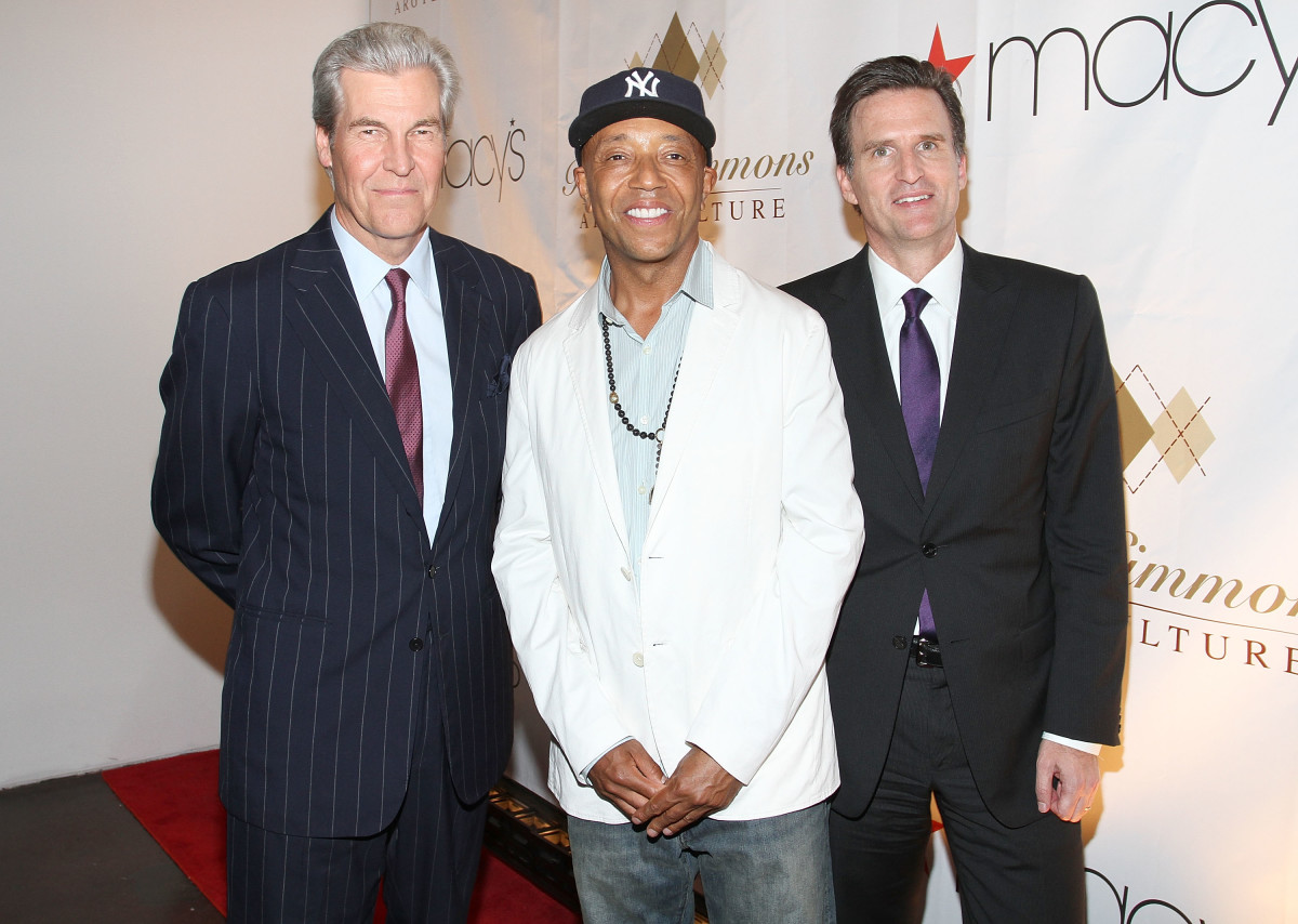Macy's CEO Terry Lundgren, Simmons and Macy's CMO Jeff Gennette during happier times at the Russell Simmons' Argyleculture fall 2010 menswear presentation. Photo: Jerritt Clark/Getty Images
