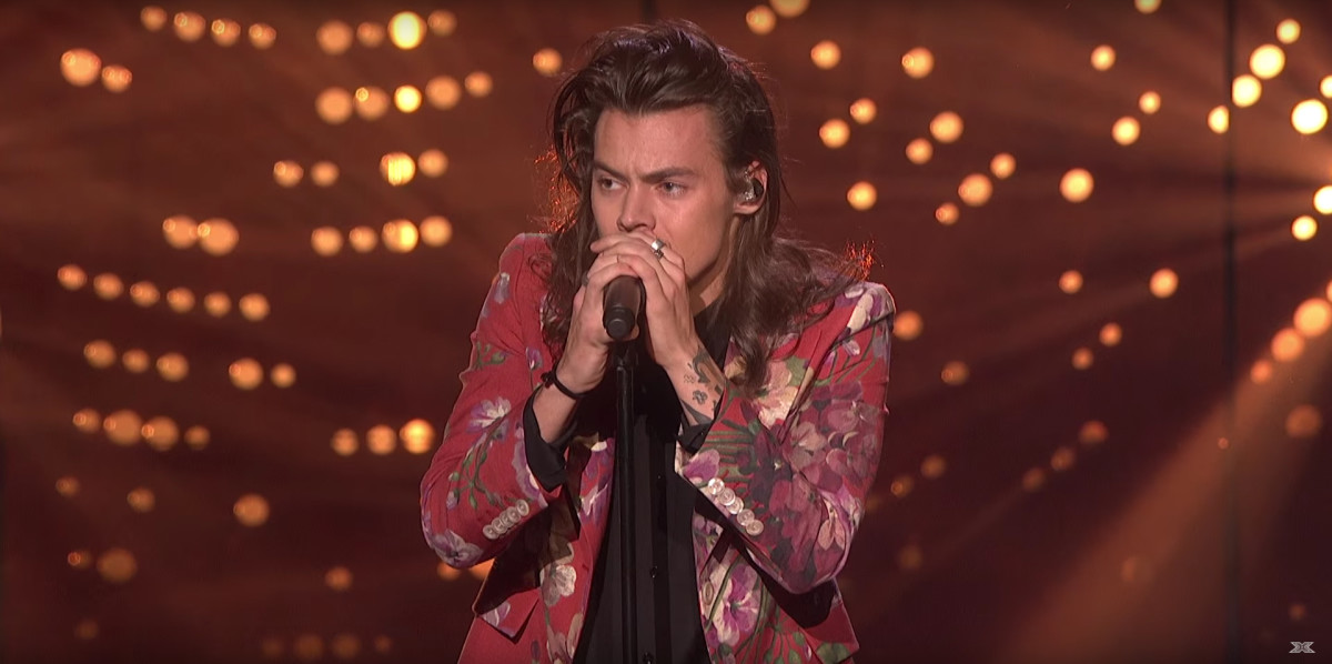 "Harry Styles in Gucci at the season finale of ""The X Factor UK"" in London on Sunday. Screengrab: The X Factor UK"