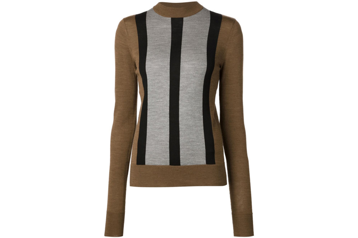 Vera Wang stripe detail fine knit sweater, $297.50, available at Farfetch.