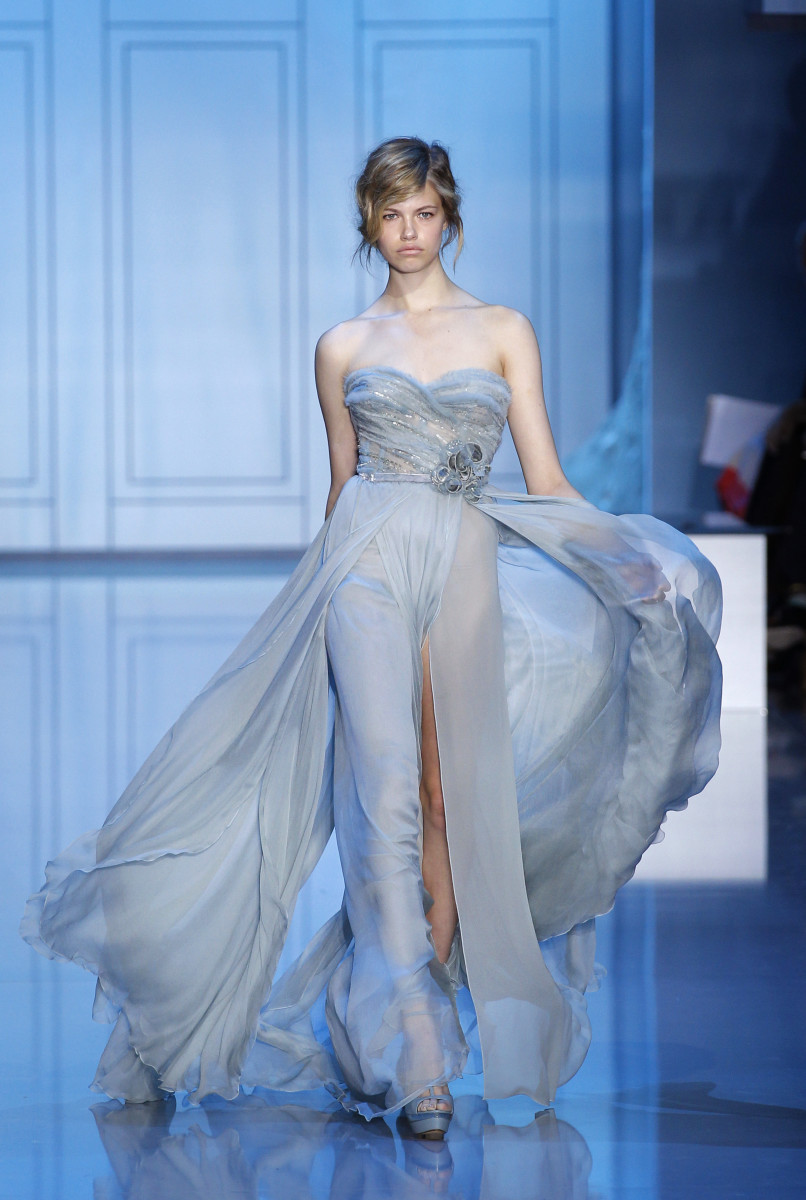 Clauson walking Elie Saab Haute Couture runway for Fall/Winter 2011-2012 in July 2011. Photo: Patrick Kovarik/AFP/Getty Images.