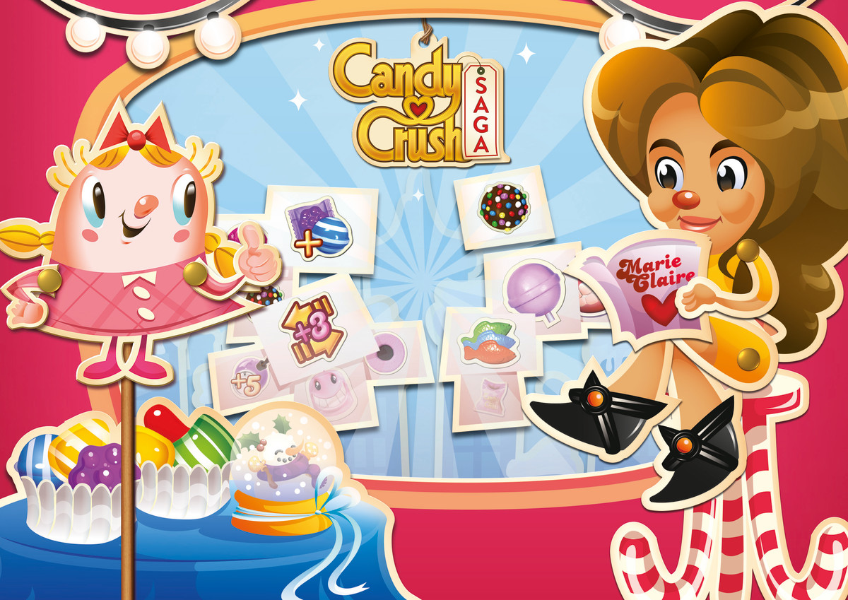 The 'Marie Claire' level on Candy Crush Saga, featuring Nina Garcia. Photo: Marie Claire