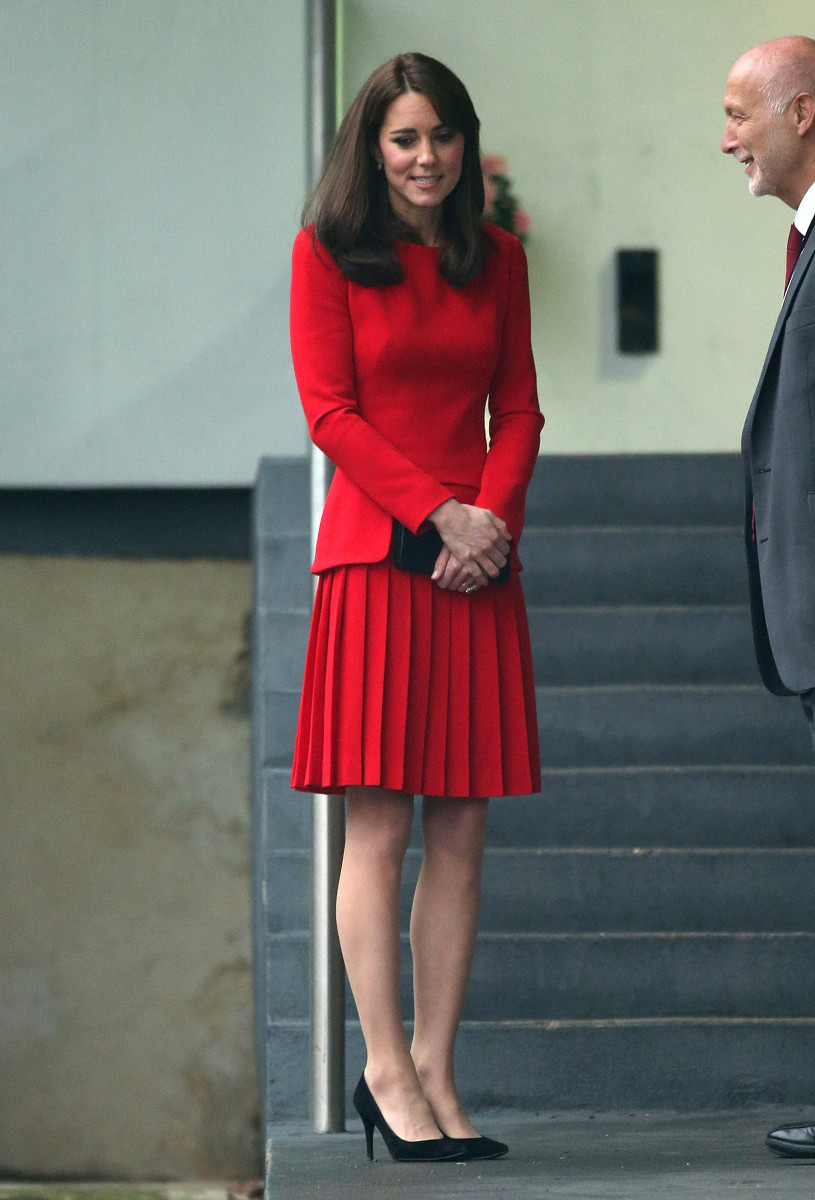 Kate Middleton in Alexander McQueen at the Anna Freud Centre Family School Christmas party in London on Tuesday. Photo: Danny Martindale/WireImage