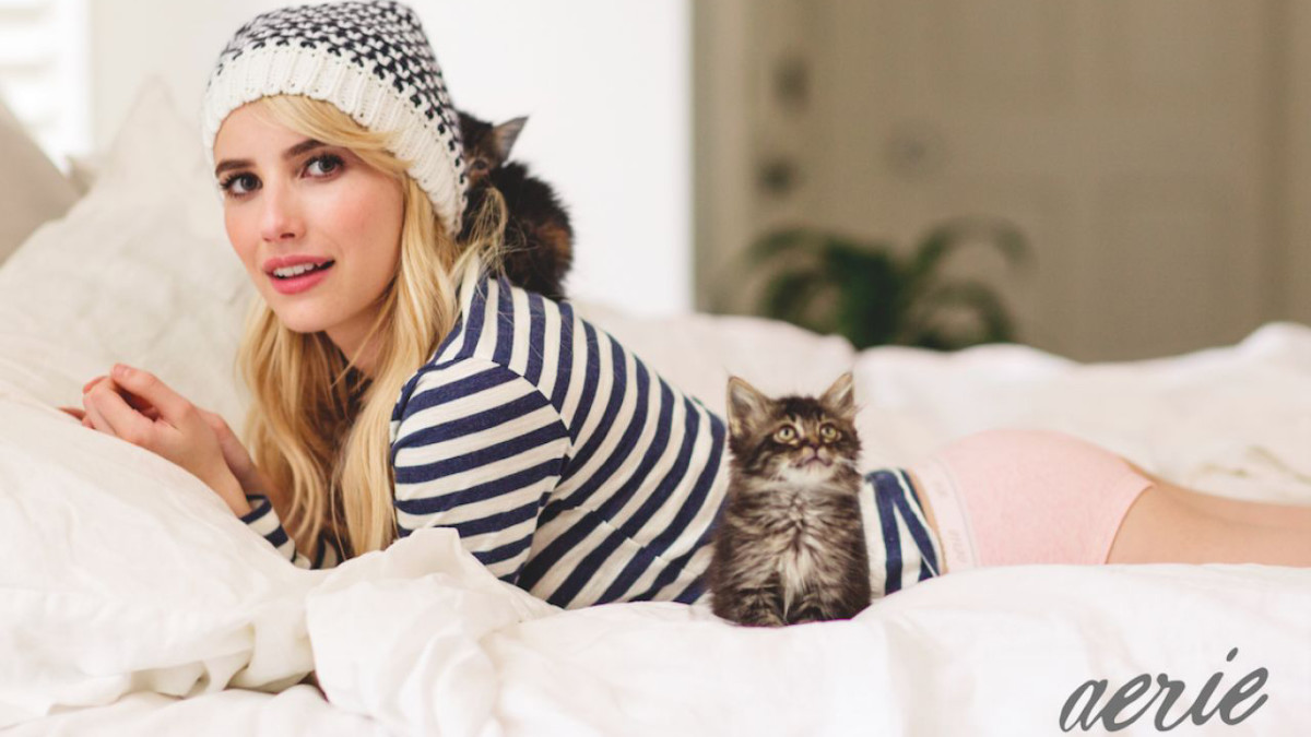 Emma Roberts and a kitty in the Aerie campaign. Photo: American Eagle