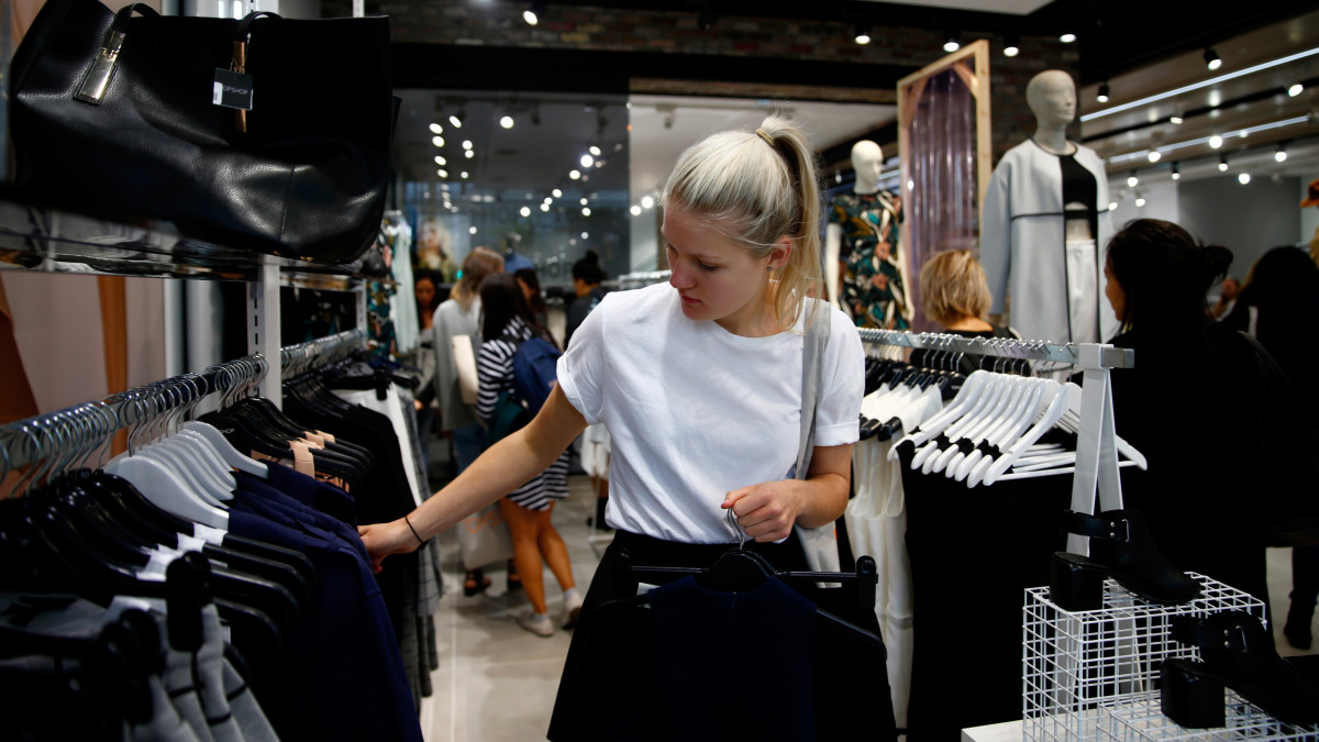 A shopper at a Topshop in Auckkland, New Zealand in March. Photo by Phil Walter/Getty Images