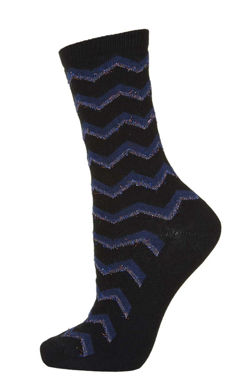 Fluffy Glitter Chevron Socks, $6, available at Topshop.