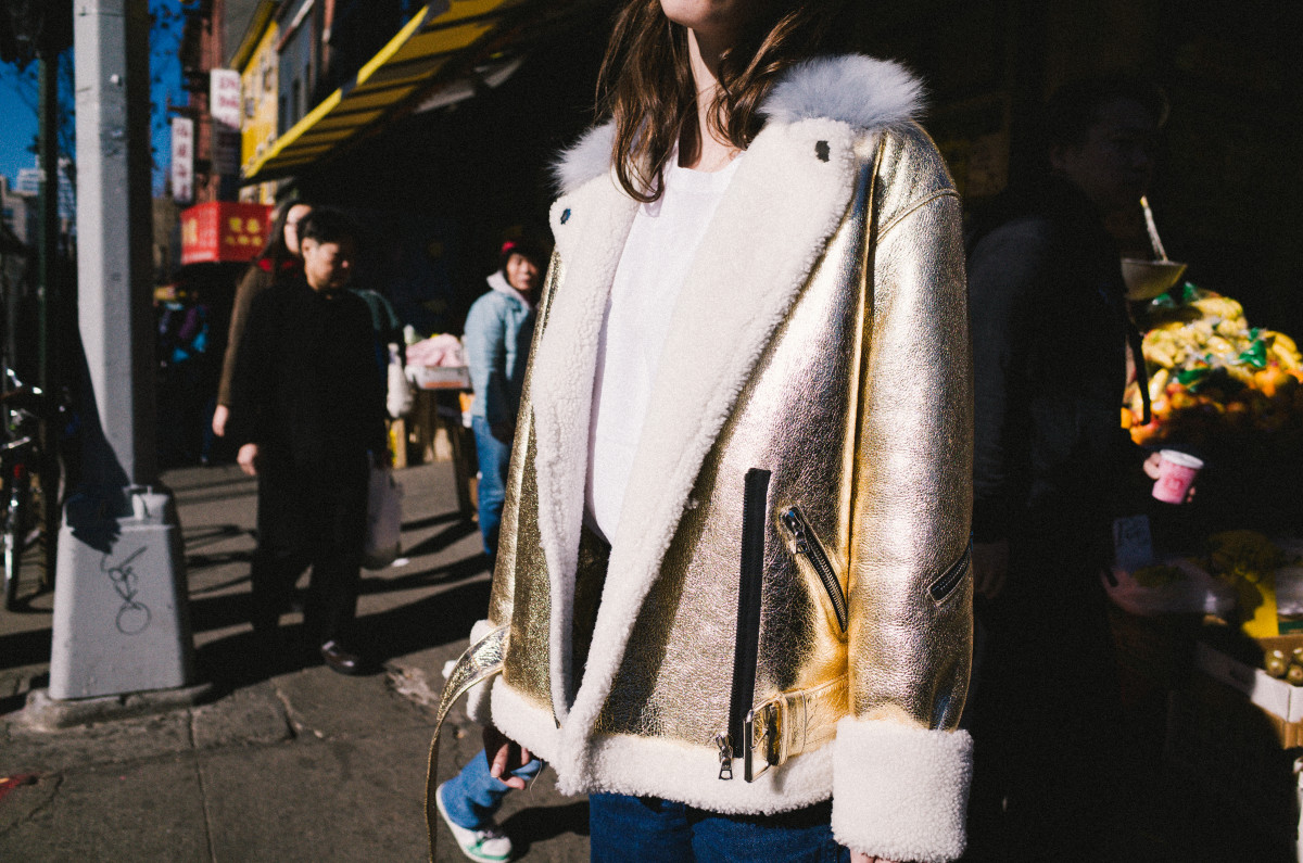 The Bowery jacket in gold, $1800. Photo: Sandy Liang