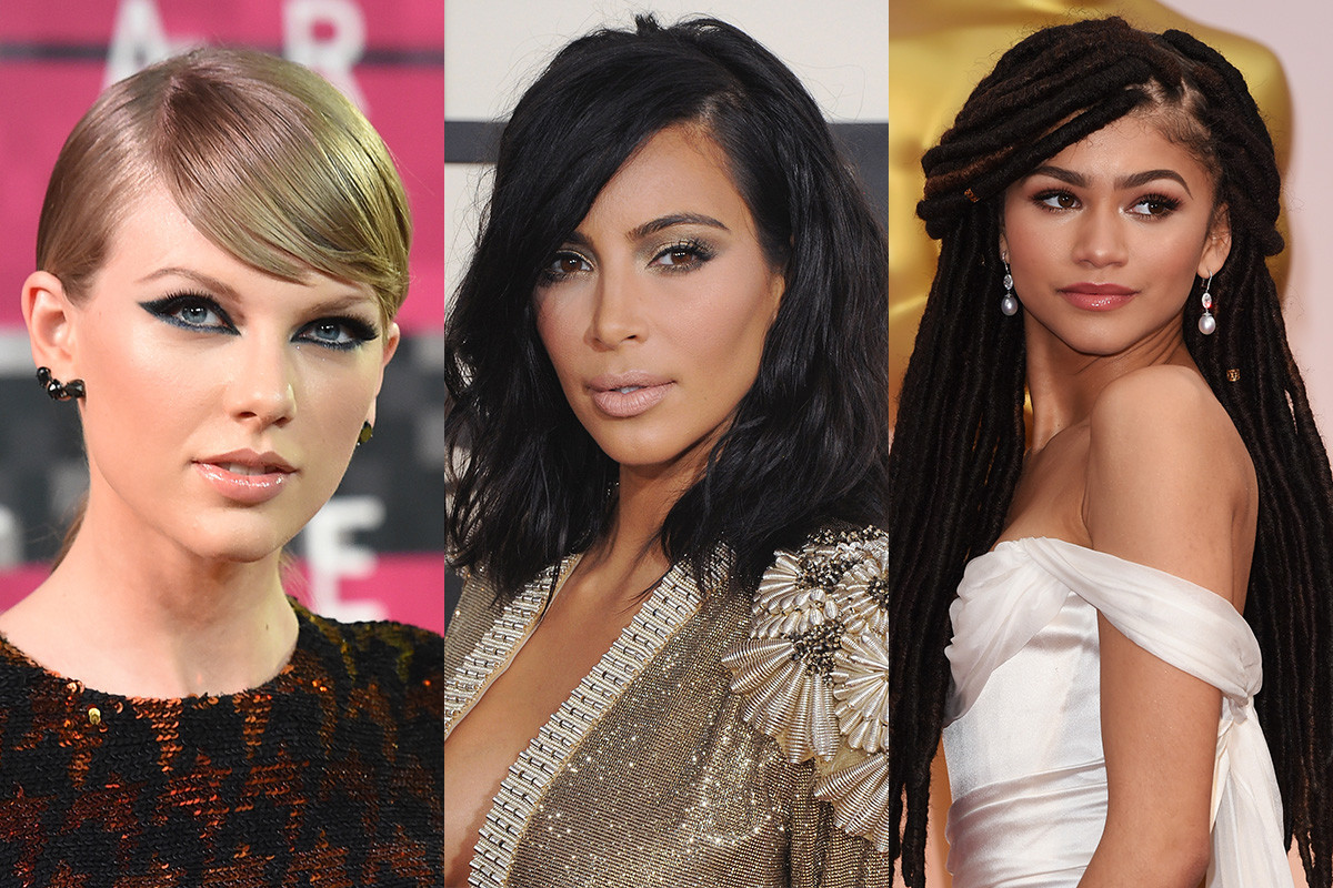 Taylor Swift, Kim Kardashian, Zendaya. (Photo credits in slideshow)