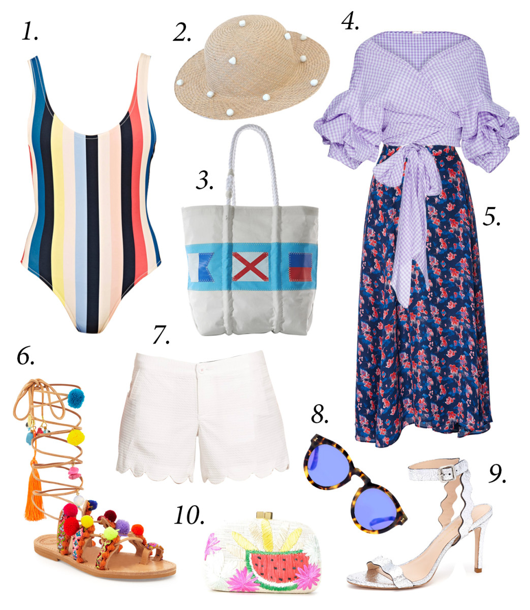 Outfits for sand or sea, if temperature allows.