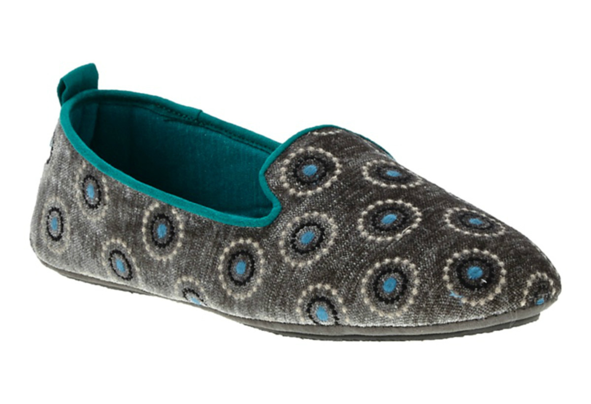 Acorn Novella slippers in Grey Velvet Dots, $59, available at Acorn.