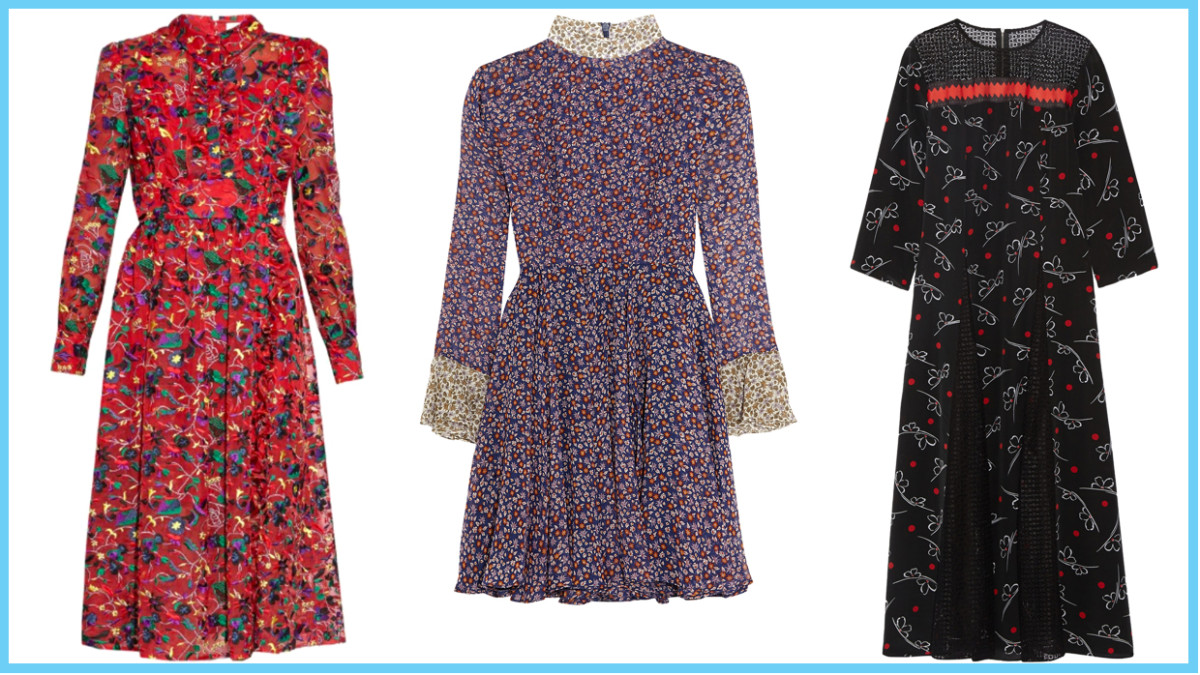 From left to right: Erdem cameron silk-organza dress, $3,499 (was $4,985), available at Matches Fashion; Topshop Unique floral-print silk-chiffon mini dress, $305 (was $435), available at Net-a-Porter; Suno lace-paneled printed silk crepe de chine midi dress, $398 (was $795), available at Net-a-Porter