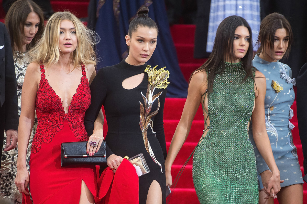Models Gigi Hadid, Bella Hadid, Kendall Jenner and Hailey Baldwin at the 2015 Met Gala in New York City. Photo: Michael Stewart/WireImage