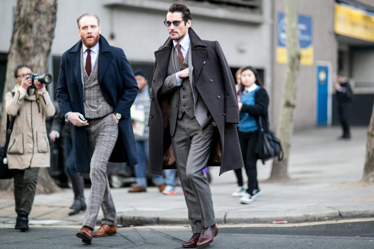 Men on the street wearing menswear. Photo: Imaxtree