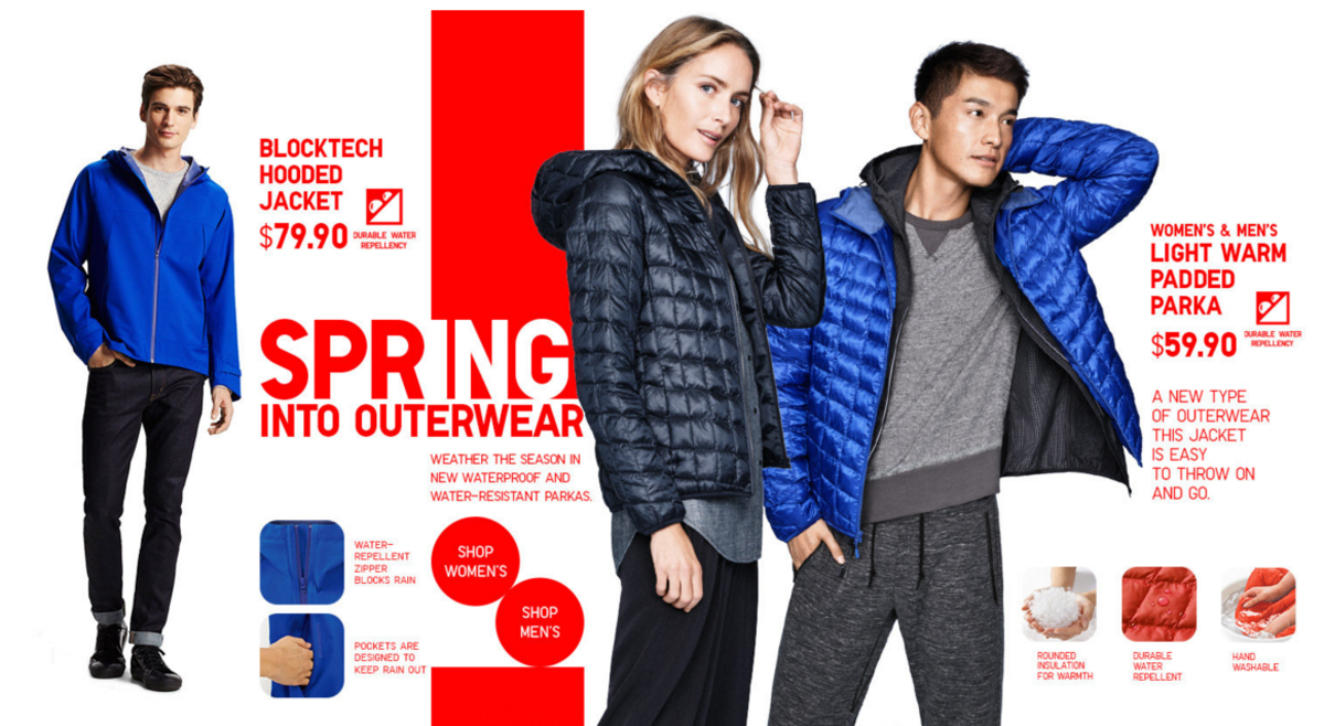 A screenshot from Uniqlo's hompage right now.