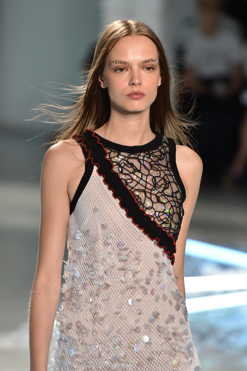 Eyebrow piercings make an appearance at Rodarte's spring 2015 show during New York Fashion Week. Photo: Slaven Vlasic/Getty Images