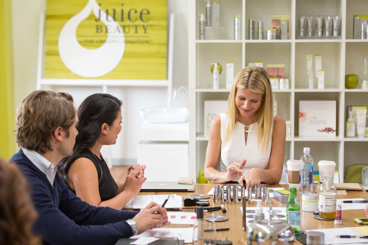 Gwyneth and the team formulating. Photo: Juice Beauty