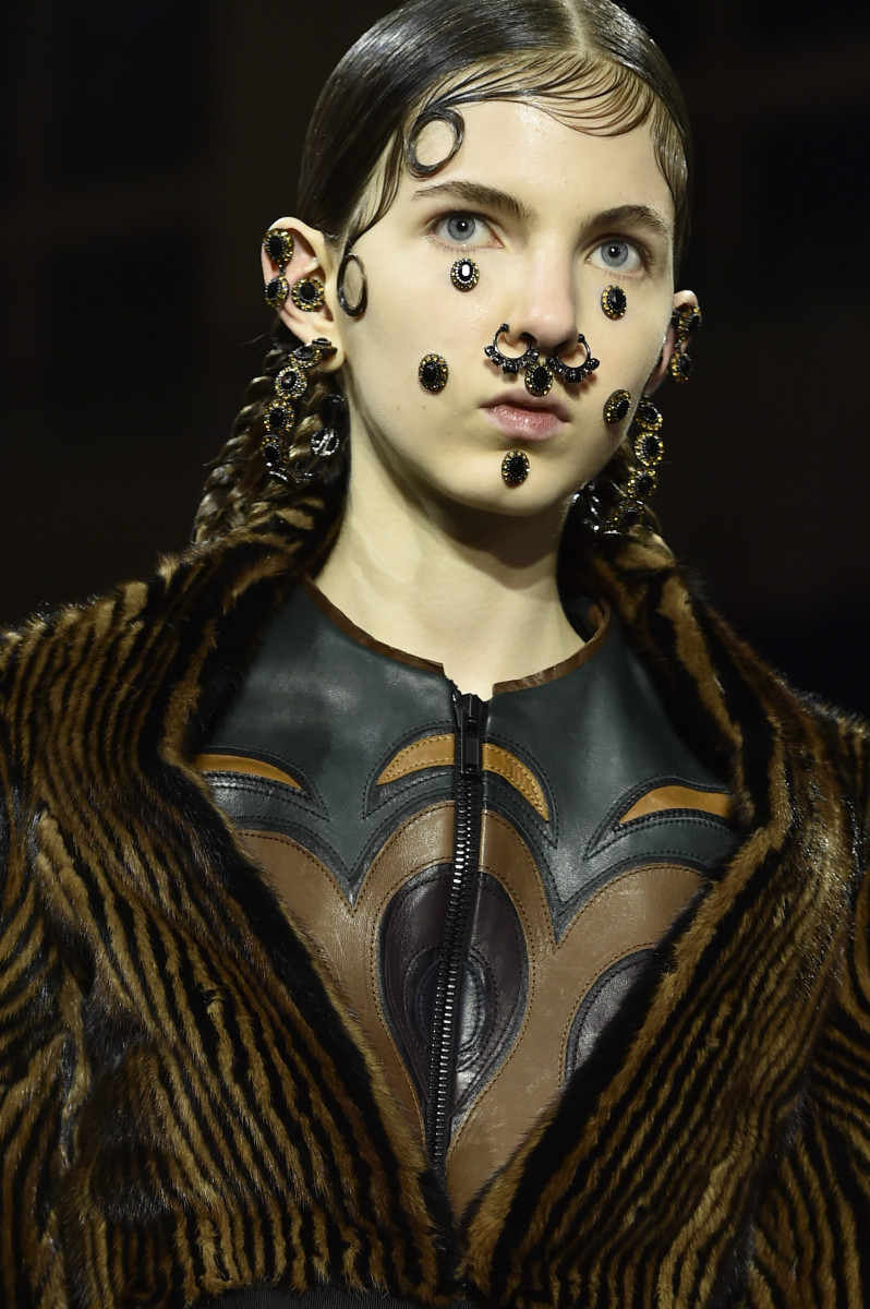 Facial piercing overload at Givenchy's fall 2015 show. Photo: Pascal Le Segretain/Getty Images