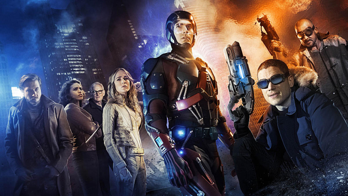 Arthur Darvill as Rip Hunter, Ciara Renee as Kendra/Hawkgirl, Victor Garber as Professor Martin Stein, Caity Lotz as White Canary, Brandon Routh as Ray Palmer/Atom, Wentworth Miller as Leonard Snart/Captain Cold, and Dominic Purcell as Mick Rory/Heat Wave. Photo: Jordan Nuttall/The CW