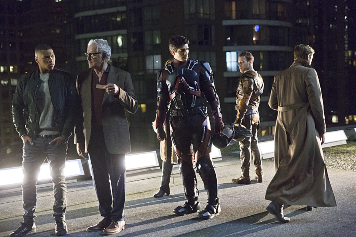 """I might need to call my dressers now."" Ray Palmer, third from left.  Jeff Weddell/The CW"