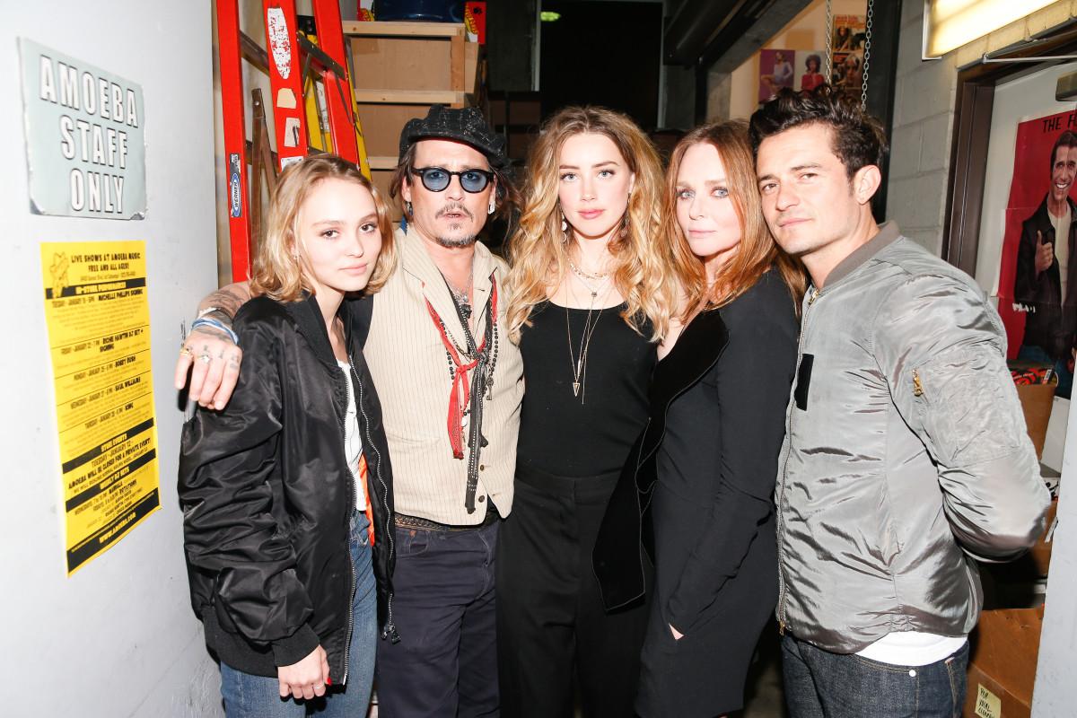 Lily-Rose Depp, Johnny Depp, Amber Heard, Stella McCartney, Orlando Bloom. Photo: Stella McCartney