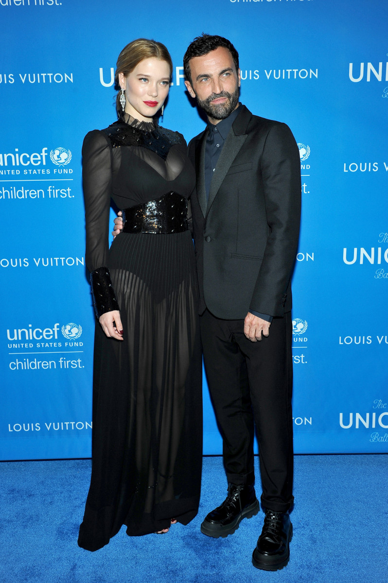 Léa Seydoux and Nicolas Ghesquiere in Louis Vuitton. Photo: Donato Sardella/Getty Images