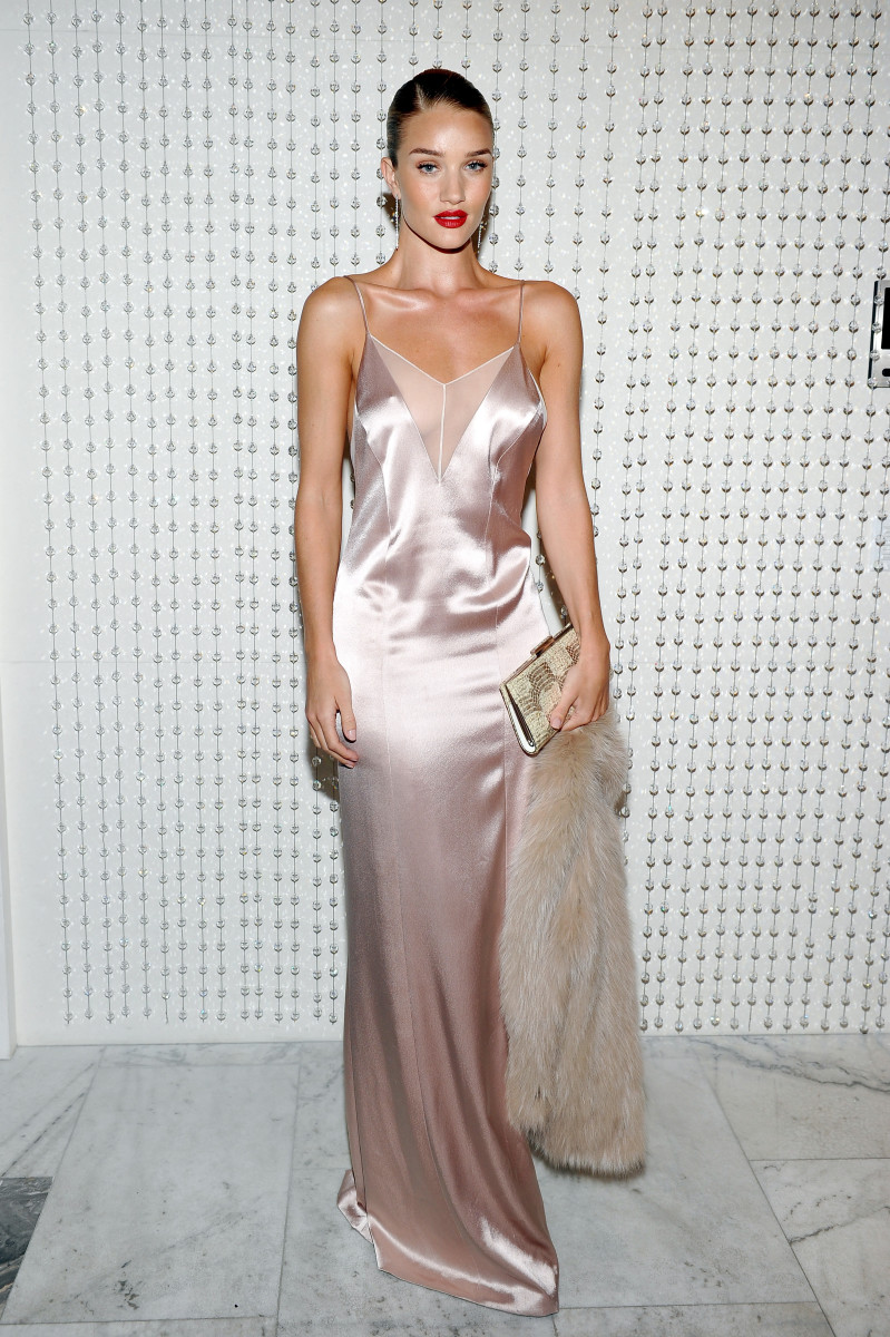 Rosie Huntington-Whiteley in Galvan at the Galvan for Opening Ceremony dinner hosted by Swarovski on Wednesday in Los Angeles. Photo: Donato Sardella/Getty Images