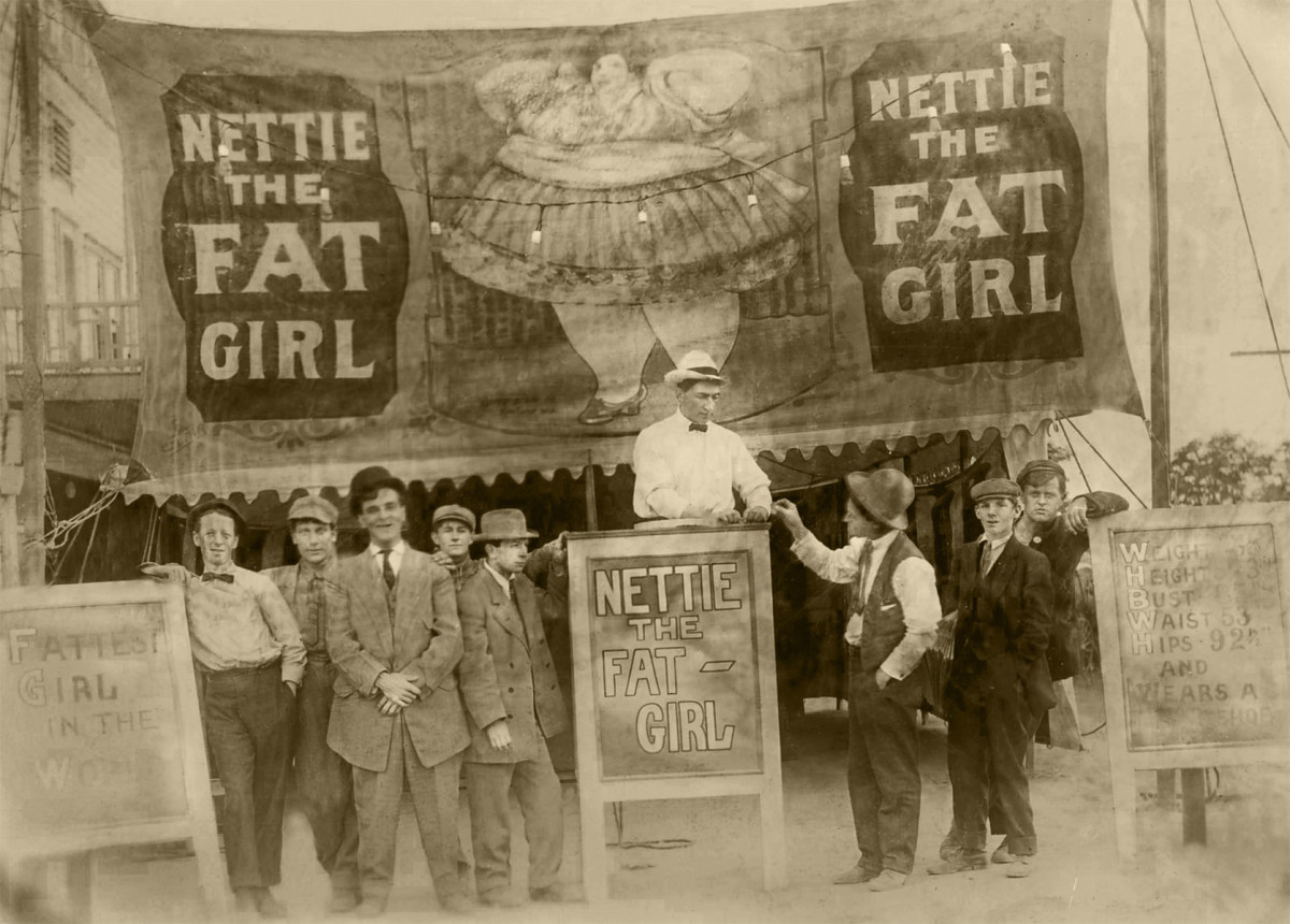 """Ticket to Nettie the Fat Girl,"" early 20th century, gelatin silver print. Photo: Unknown photographer/ Courtesy Chere Hughes at Mindful Resource"