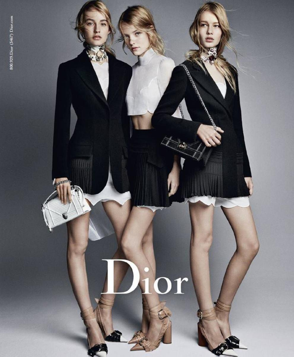 Maartje Verhoef, Roos Abels and Sofia Mechetner in Dior's spring 2016 ad campaign. Photo: Patrick Demarchelier