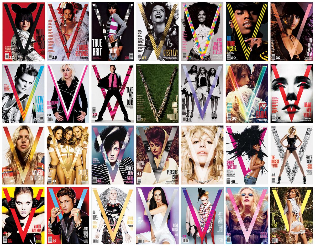 Covers of 'V' Magazine. Photo: Greg Foley