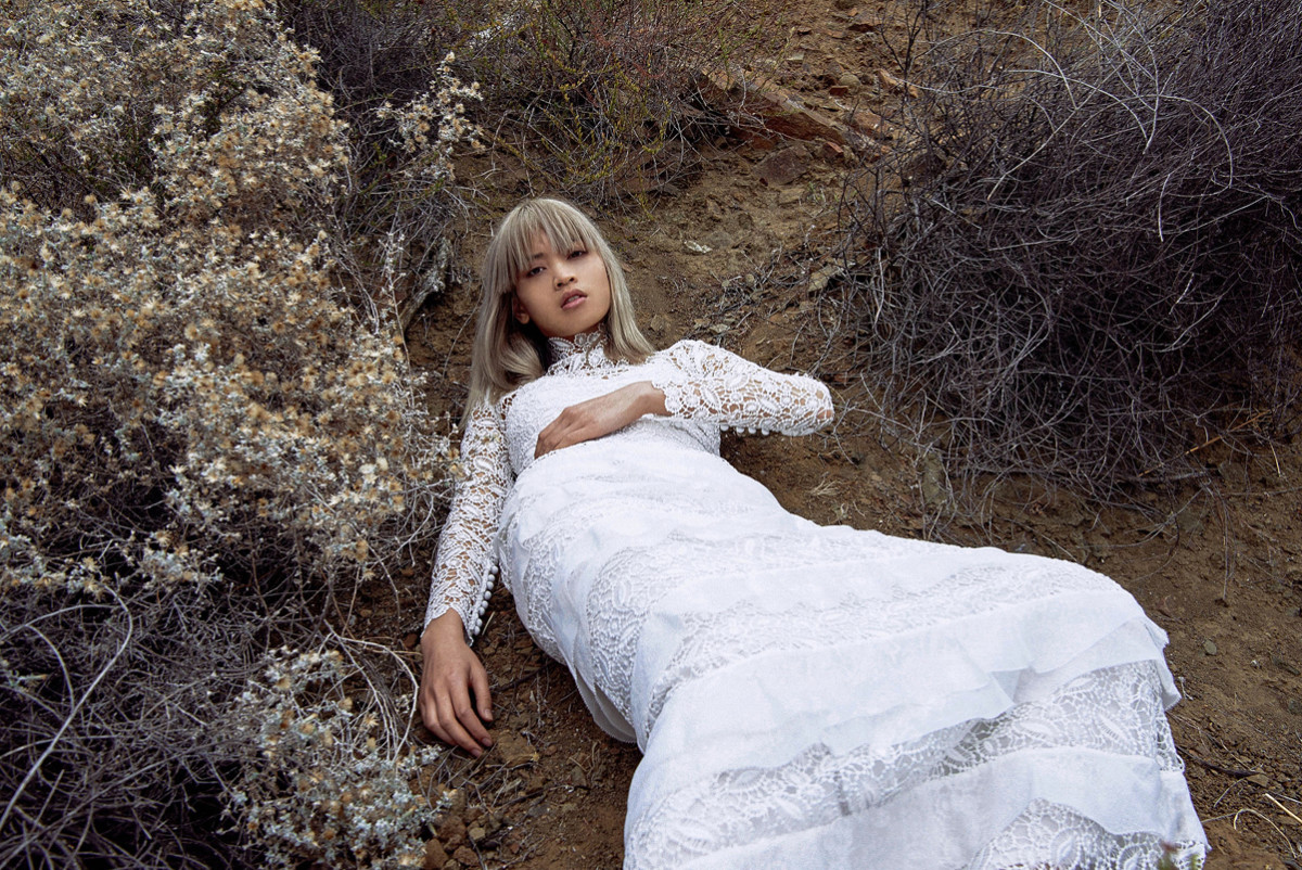 Marga Esquivel models Self-Portrait's debut bridal collection. Photo: Self-Portrait
