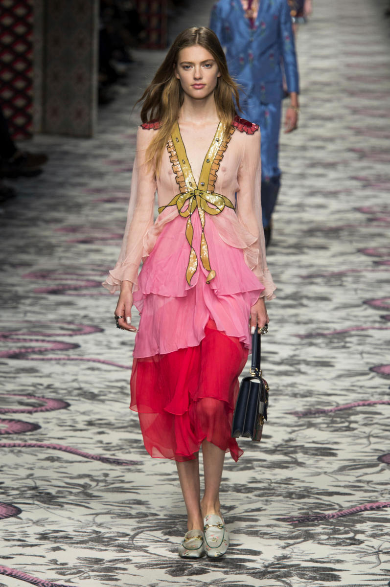The dress on Gucci's spring 2016 runway in September 2015. Photo: Imaxtree