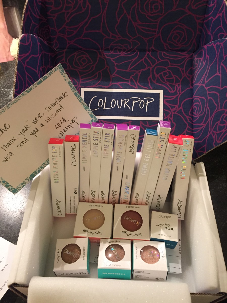 My ColourPop haul, worth $96 retail. Photo: Cheryl Wischhover's iPhone