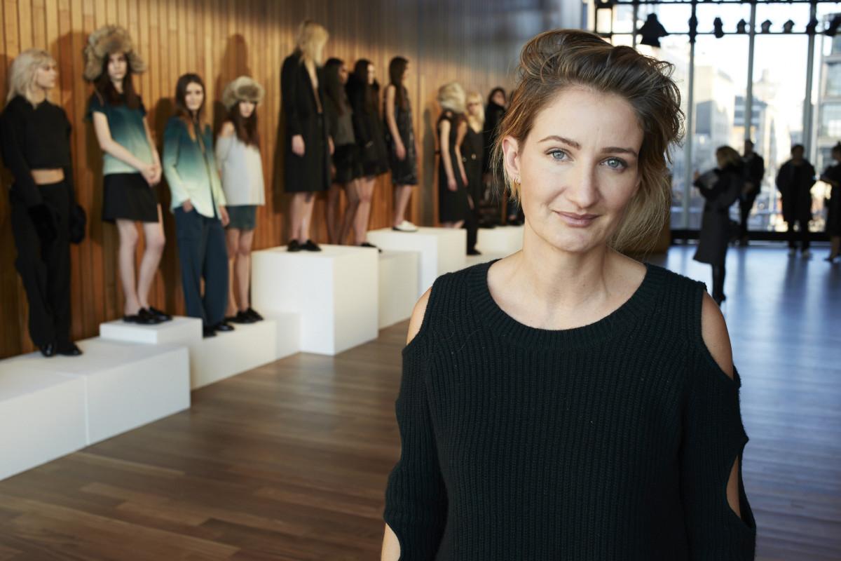 Designer Zoë Jordan in one of her cutout knits. Photo: Zoë Jordan
