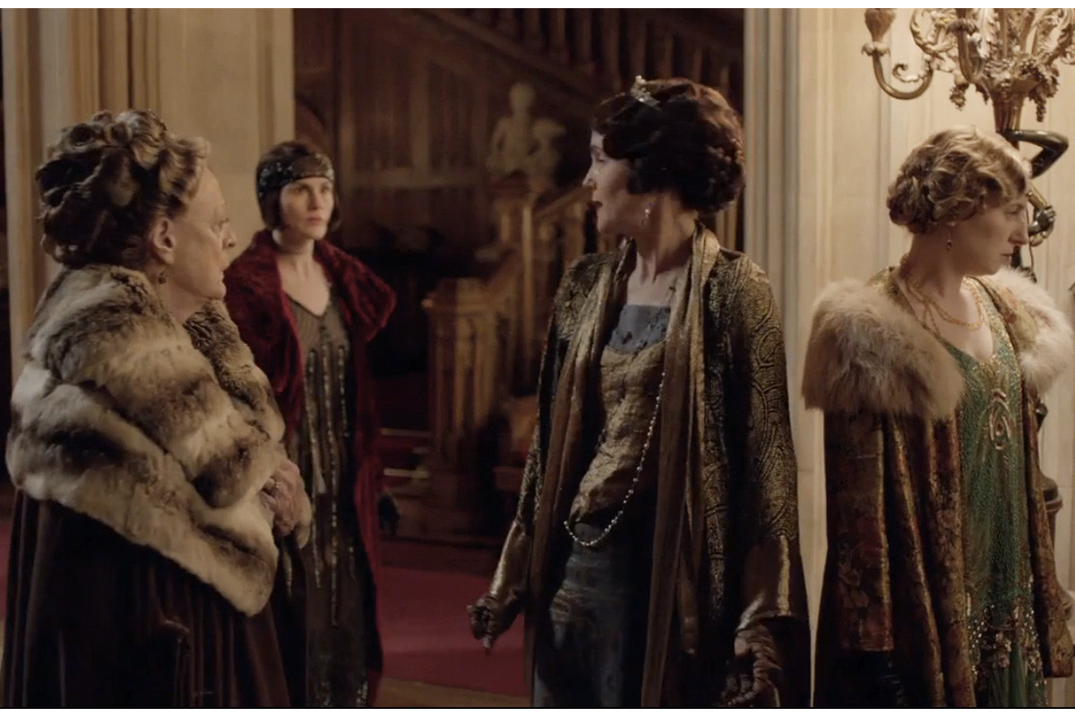 The ladies of Downton Abbey, wearing every fabric and texture imaginable. Screengrab: PBS/Masterpiece