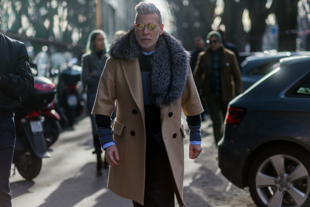 Nick Wooster outside Armani's fall 2016 show during Paris Fashion Week: Men's. Photo: Christian Vierig/Getty Images