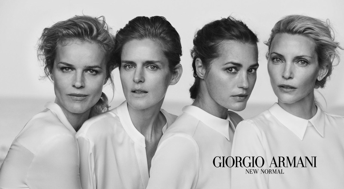 Eva Herzigova, Stella Tennant, Amber Le Bon and Nadja Auermann. Photo: Peter Lindbergh