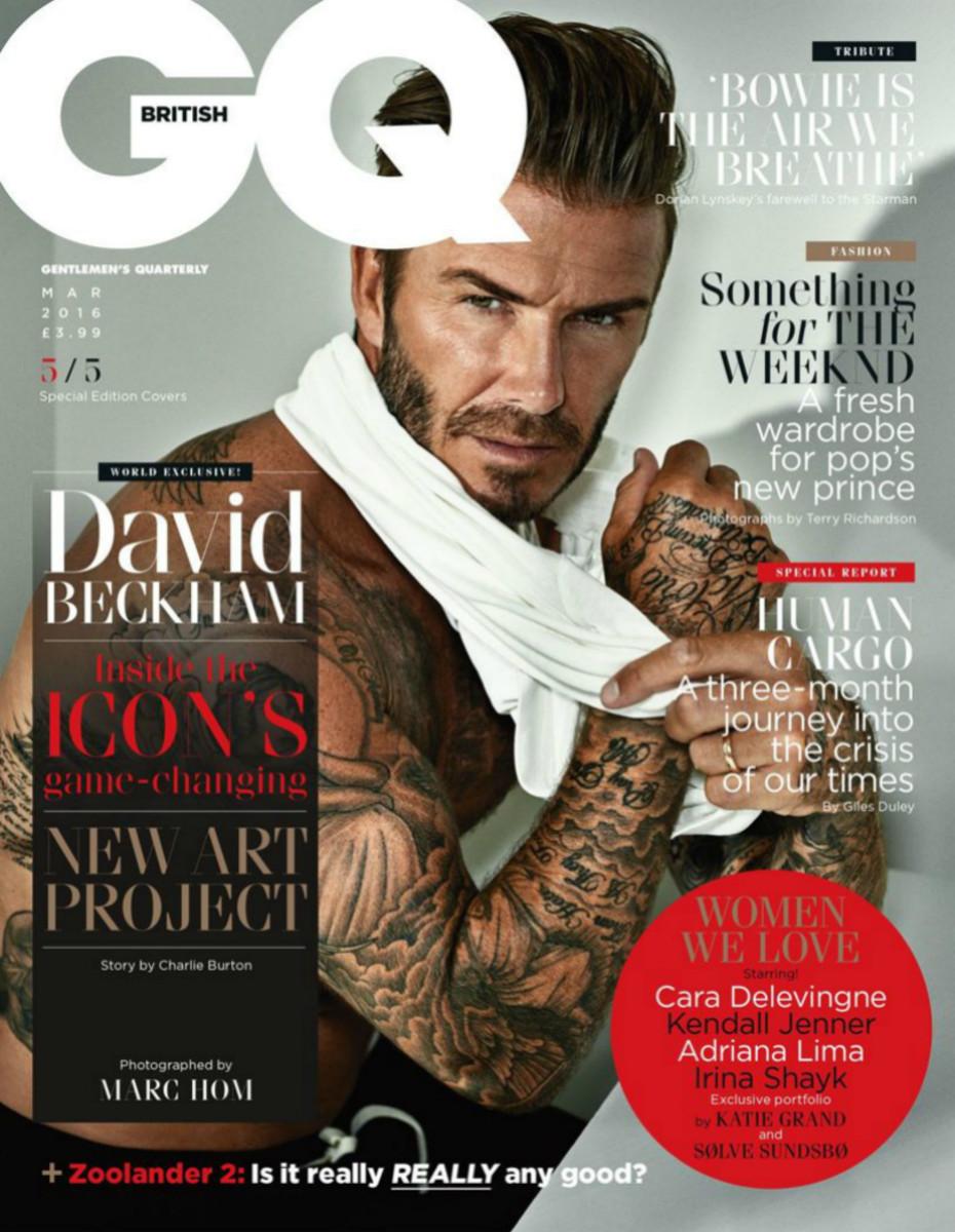 "David Beckham on ""British GQ,"" March 2016. Photo: Marc Hom/""British GQ"""