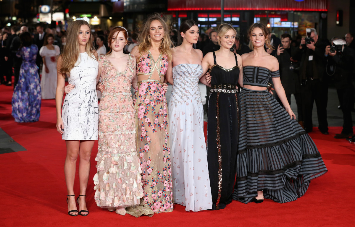 "Hermione Corfield, Ellie Bamber, Suki Waterhouse, Millie Brady, Bella Heathcote and Lily James at the ""Pride and Prejudice and Zombies"" premiere. Photo: Chris Jackson/Getty Images"