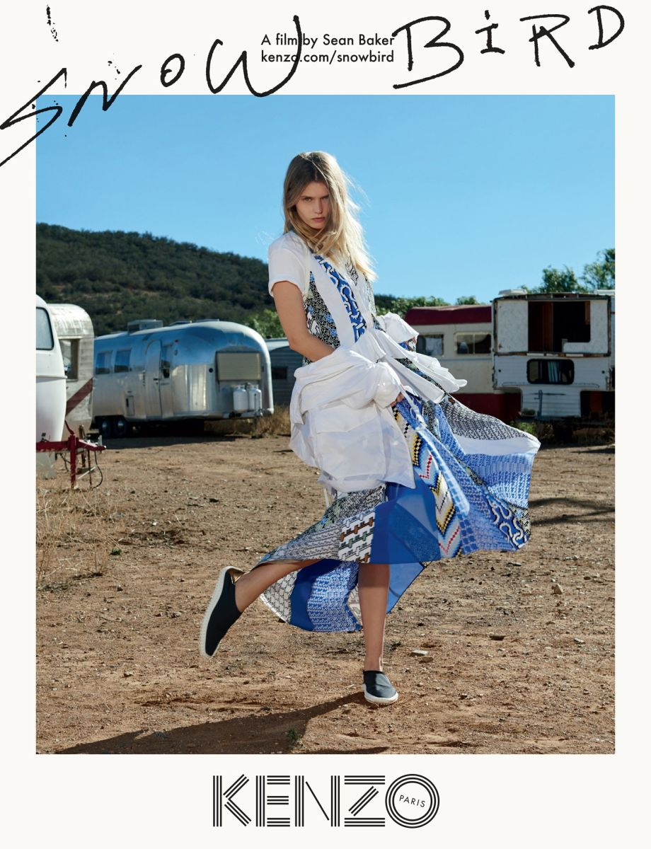 Abbey Lee in Kenzo's print campaign. Photo: Sean Baker/Kenzo