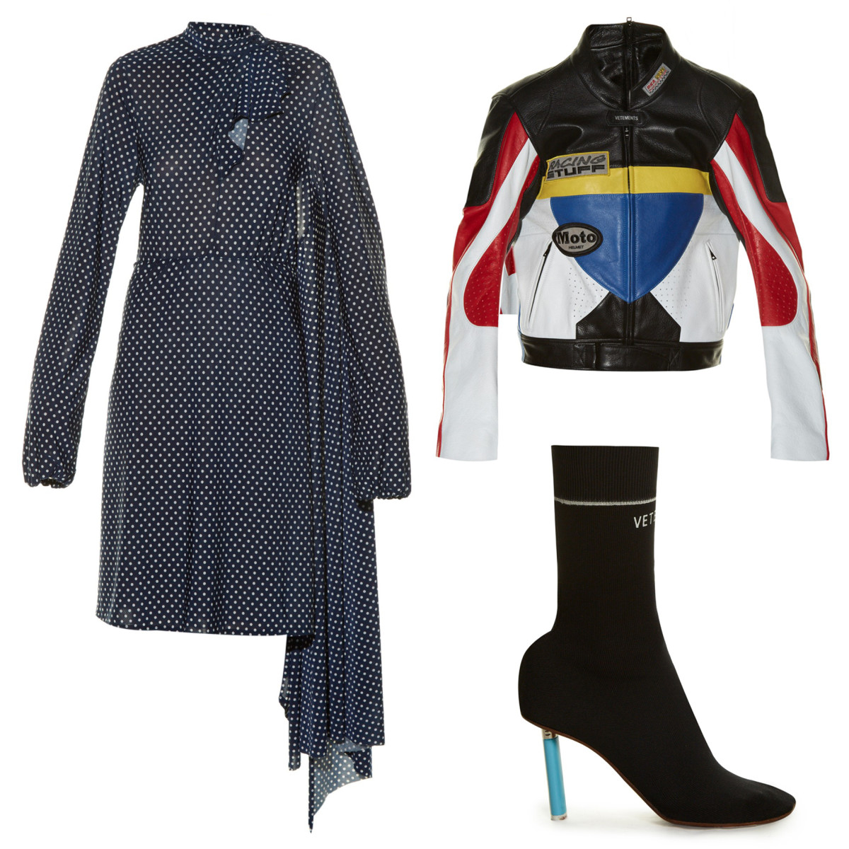 Clockwise from top left: Vetements open-back polka-dot print dress, $2,095, available at Net-a-Porter; Vetements colour-block leather biker jacket, $4,750, available at Net-a-Porter; Vetementssock ankle boots,$1,260, available at Net-a-Porter.