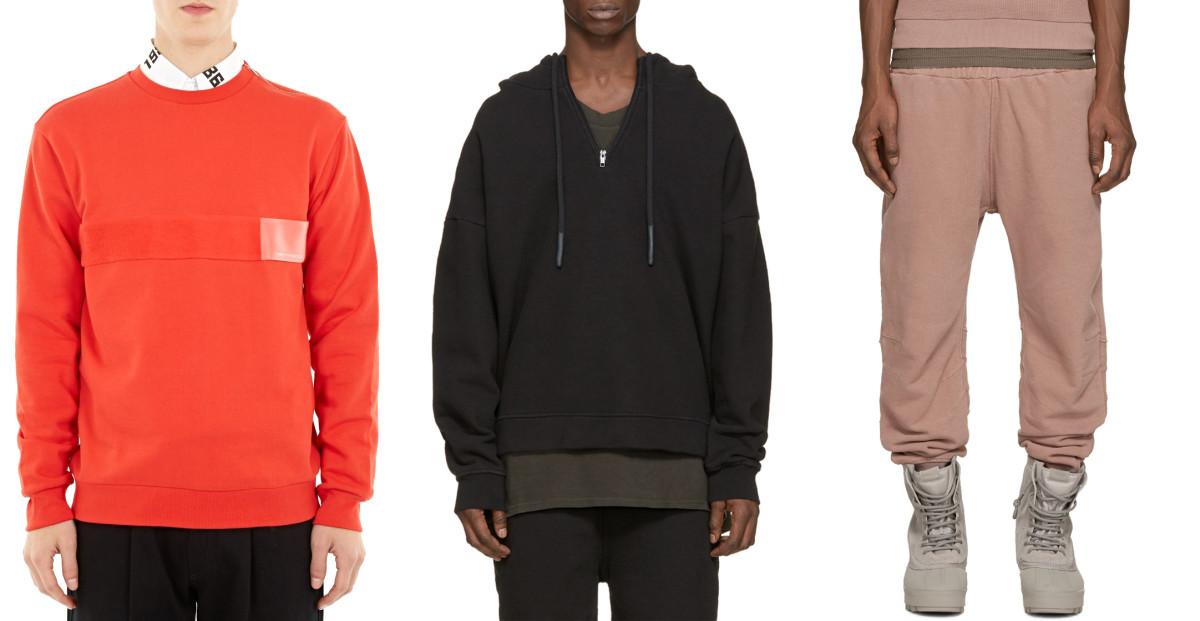 Gosha Rubchinskiy red cotton logo-detail sweatshirt,available at Oki-Ni;Yeezy Season 1 black half zip hoodie, $625,available at Ssense; Yeezy Season 1 rose french terry lounge pants, $570, available at Ssense.