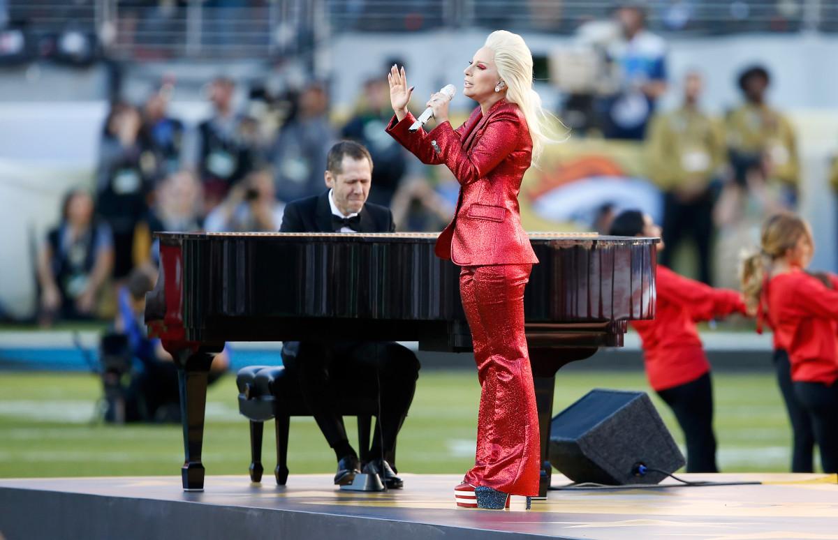 Lady Gaga singing the National Anthem at Super Bowl 50 at Levi's Stadium on Sunday. Photo: Sean M. Haffey/Getty Images