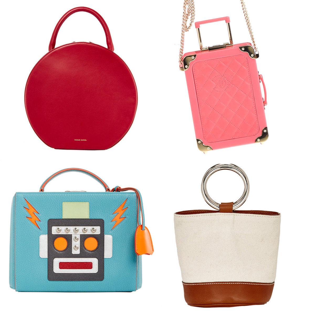 Clockwise from top left: Mansur Gavriel rococo leather circle bag, $1,095, available at Moda Operandi; Chanel spring 2016 bag. Photo: Imaxtree; Mark Cross large robot grace box, $2,695, available at Moda Operandi; Simon Miller bonsai bucket bag, $340, available at Barneys.